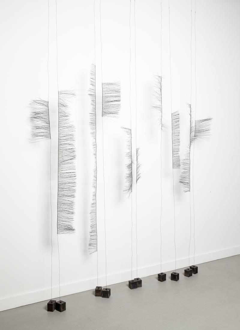 opening the line- 2013, steel wire, cut steel plate, 9'x11'x3'